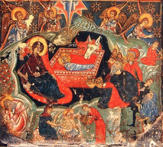 «Χριστὸς γεννάται. δοξάσατε• Χριστὸς εξ ουρανών. απαντήσατε»