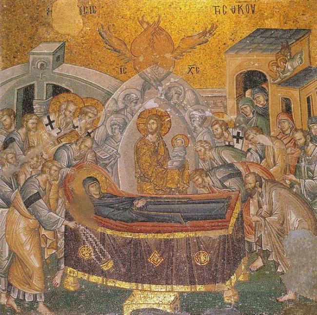 Οι τελευταίες στιγμές της Παναγίας (Ιωάννου Γεωμέτρου -  10ος αιώνας)